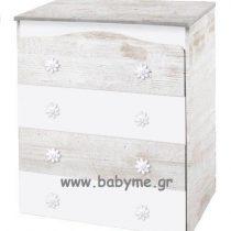 Συρταριέρα Daisy antique/λευκό