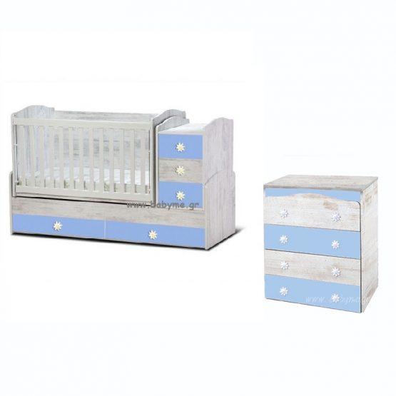Πολυμορφική Daizy  Antique/Γαλάζιο & Συρταριέρα Daizy Antique/Γαλάζιο