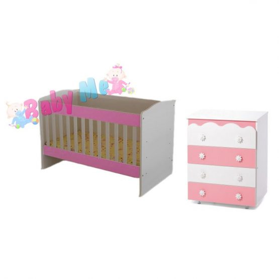 Κούνια Babypink & Συρταριέρα Daizy Ασπρο/Ροζ