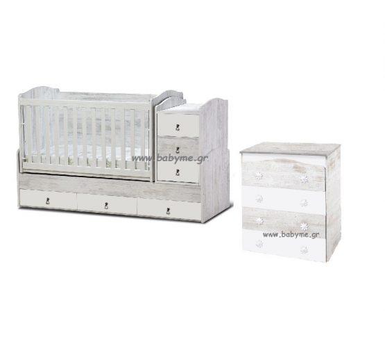 Πολυμορφική Daizy Max  antique/λευκό & Συρταριέρα Daizy antique/λευκό