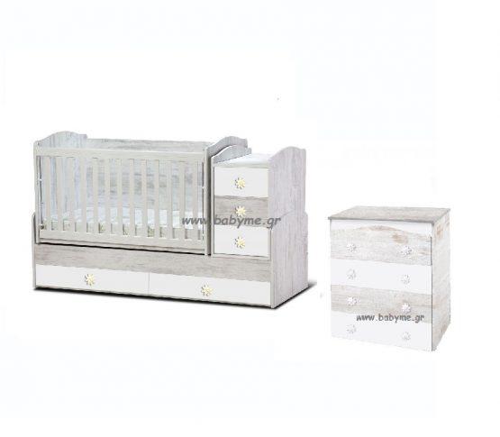 Πολυμορφική Daizy  Antique/λευκό & Συρταριέρα Daizy Antique/λευκό