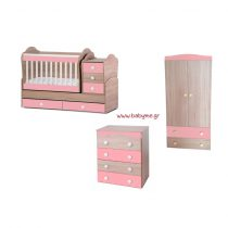 Πολυμορφική Daizy  Oak /Ροζ & Συρταριέρα Daizy Oak /Ροζ & Ντουλάπα Oak/Ροζ