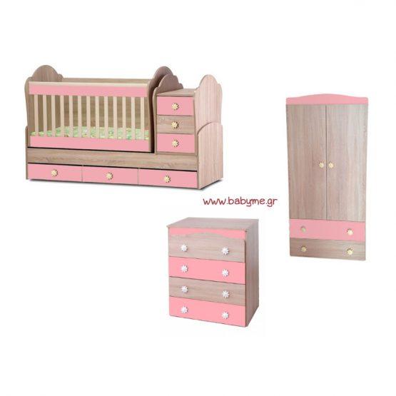 Πολυμορφική Daizy Max  Oak /Ροζ & Συρταριέρα Daizy Oak /Ροζ & Ντουλάπα Oak/Ροζ
