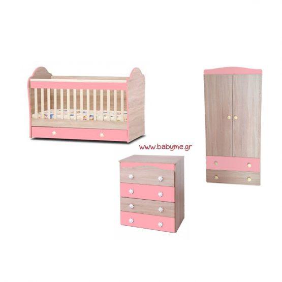 Κούνια  Eco Oak/ Ροζ & Συρταριέρα Daizy  Oak / Ροζ & Ντουλάπα Oak/Ροζ